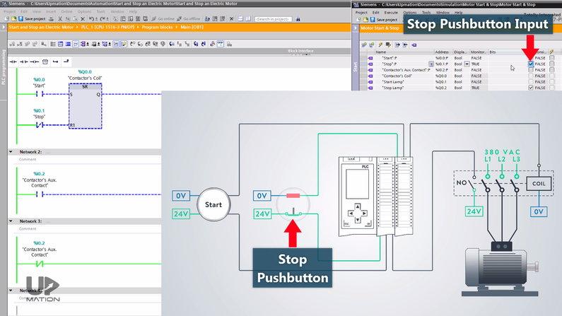 Startstop Motor Control PLC Ladder Program Simulation